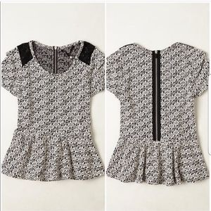 Knitted And Knotted Peplum Top Small